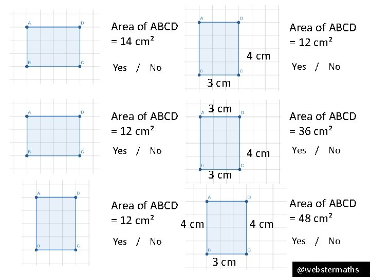 Area of ABCD = 14 cm² 4 cm Yes / No Area of ABCD