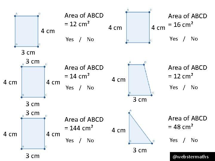 4 cm 3 cm 4 cm 3 cm Area of ABCD 4 cm =