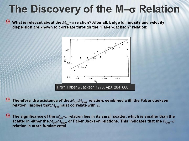 The Discovery of the M Relation d What is relevant about the MBH relation?