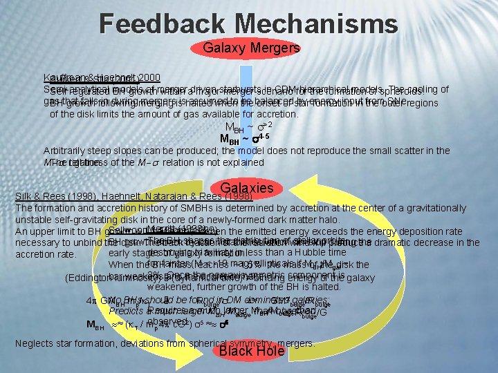 Feedback Mechanisms Galaxy Mergers Kauffman Haehnelt Burkert &&Silk (2001)2000 Semi-analytical of merger starbursts in