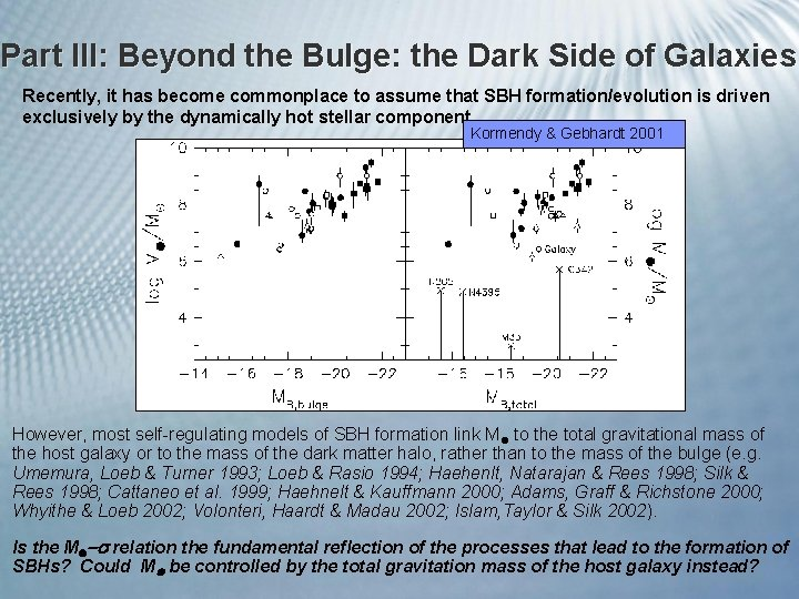 Part III: Beyond the Bulge: the Dark Side of Galaxies Recently, it has become