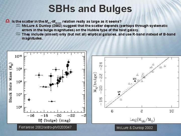 SBHs and Bulges d Is the scatter in the MBH-Mbulge relation really as large