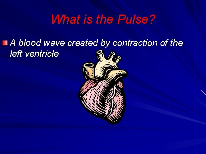 What is the Pulse? A blood wave created by contraction of the left ventricle