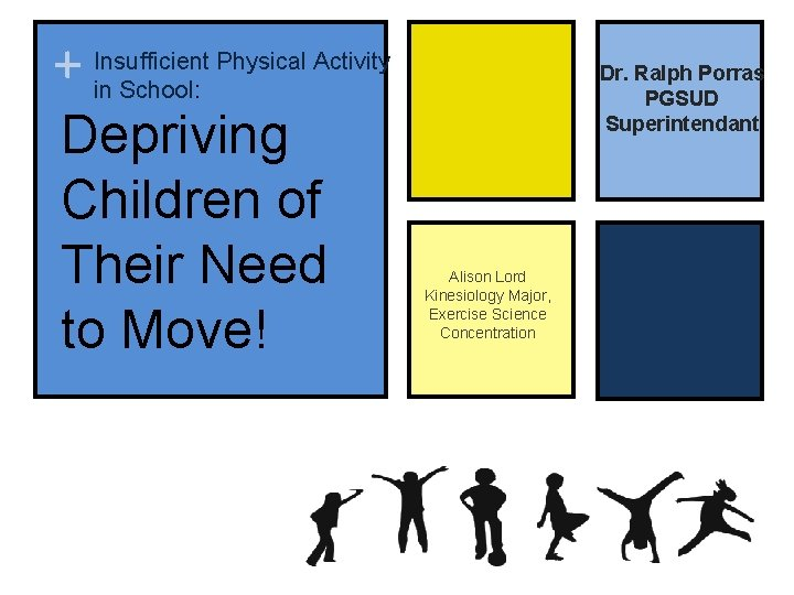 Physical Activity + Insufficient in School: Depriving Children of Their Need to Move! Dr.