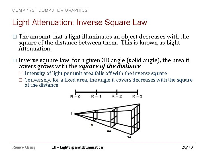 COMP 175 | COMPUTER GRAPHICS Light Attenuation: Inverse Square Law � The amount that
