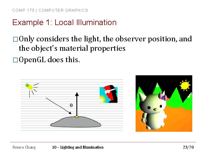 COMP 175 | COMPUTER GRAPHICS Example 1: Local Illumination �Only considers the light, the