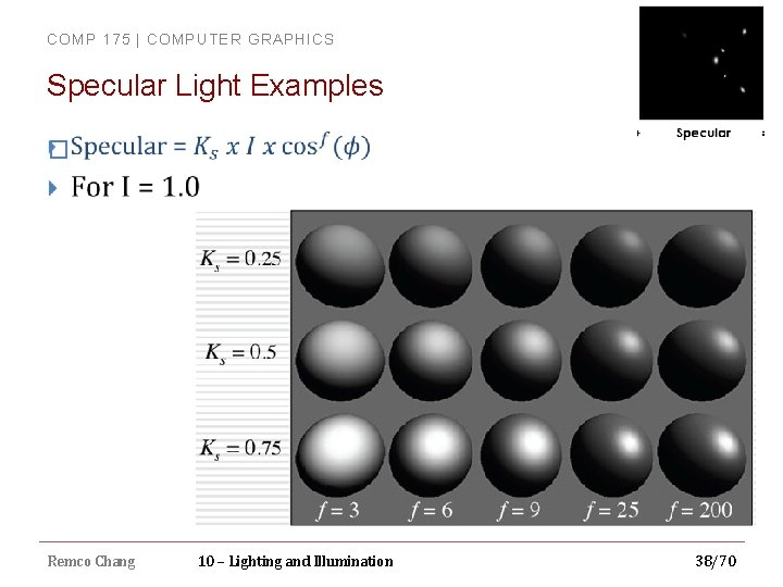 COMP 175 | COMPUTER GRAPHICS Specular Light Examples � Remco Chang 10 – Lighting