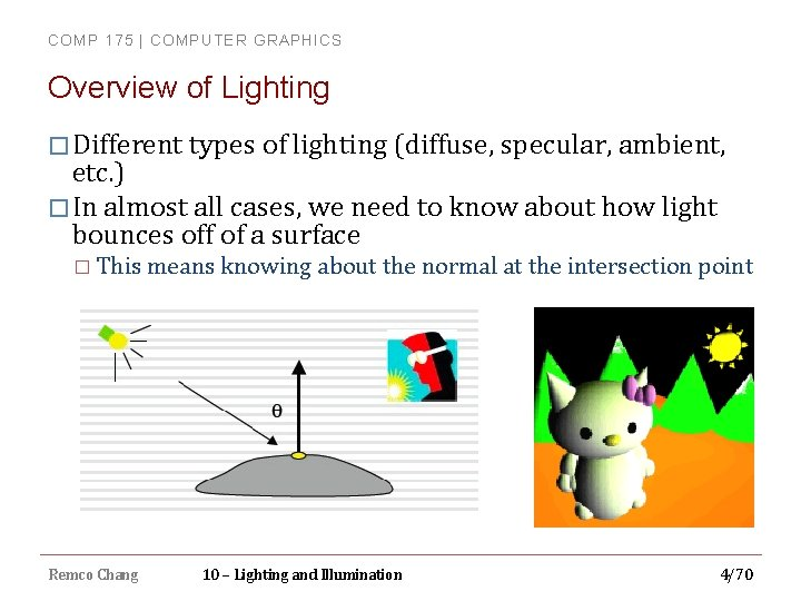 COMP 175 | COMPUTER GRAPHICS Overview of Lighting � Different types of lighting (diffuse,