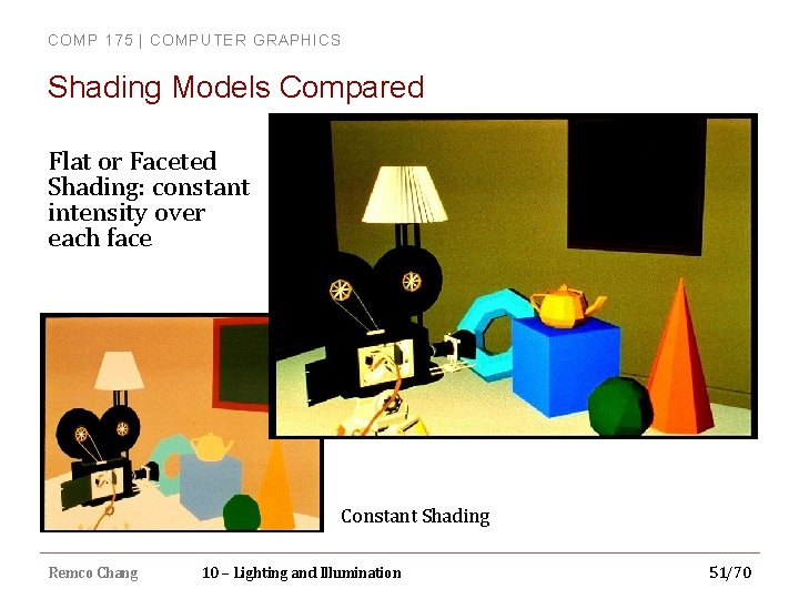 COMP 175 | COMPUTER GRAPHICS Shading Models Compared Flat or Faceted Shading: constant intensity