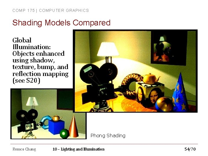 COMP 175 | COMPUTER GRAPHICS Shading Models Compared Global Illumination: Objects enhanced using shadow,