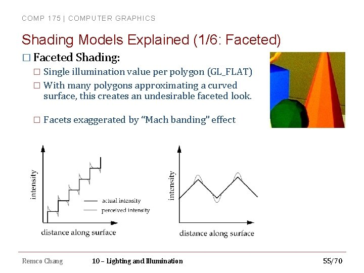 COMP 175 | COMPUTER GRAPHICS Shading Models Explained (1/6: Faceted) � Faceted Shading: Single