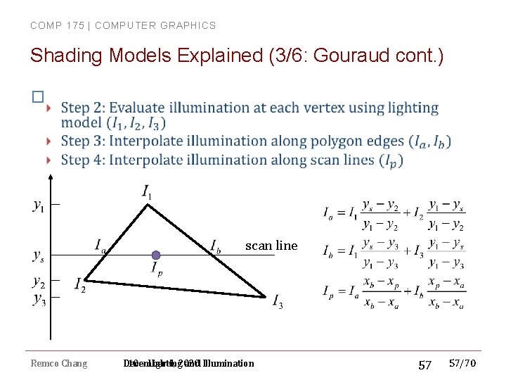 COMP 175 | COMPUTER GRAPHICS Shading Models Explained (3/6: Gouraud cont. ) � scan