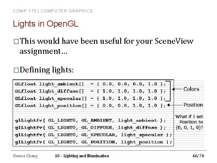 COMP 175 | COMPUTER GRAPHICS Lights in Open. GL �This would have been useful