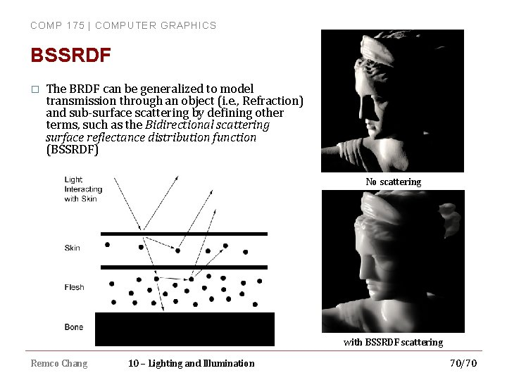 COMP 175 | COMPUTER GRAPHICS BSSRDF � The BRDF can be generalized to model