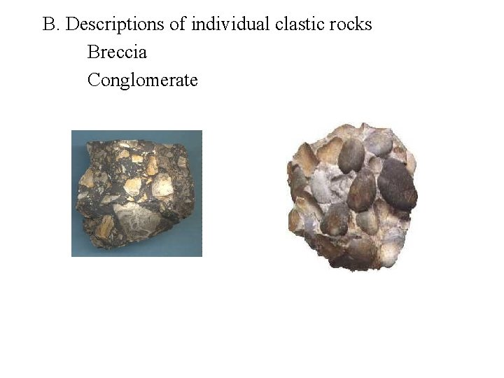 B. Descriptions of individual clastic rocks Breccia Conglomerate