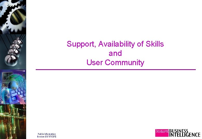 Support, Availability of Skills and User Community Public Information Version 3. 1: 1/1/2012