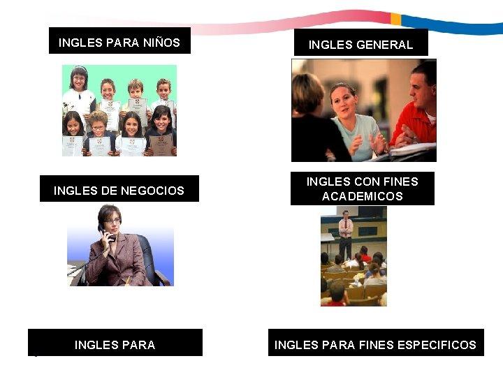 3 INGLES PARA NIÑOS INGLES GENERAL INGLES DE NEGOCIOS INGLES CON FINES ACADEMICOS INGLES