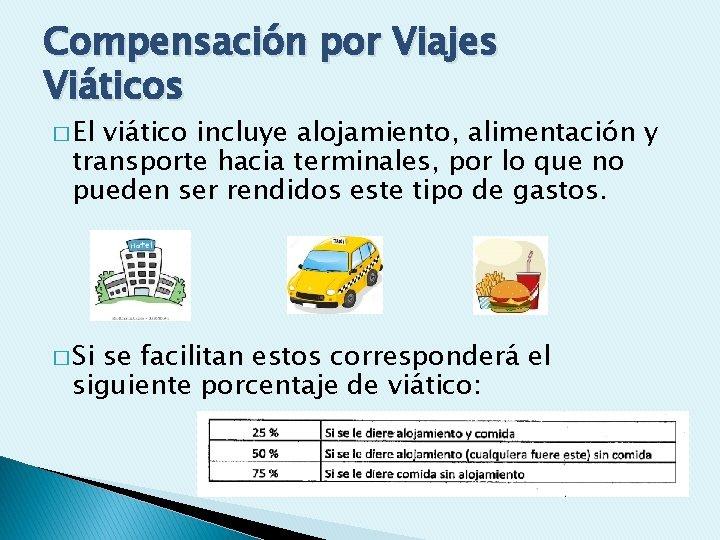 Compensación por Viajes Viáticos � El viático incluye alojamiento, alimentación y transporte hacia terminales,