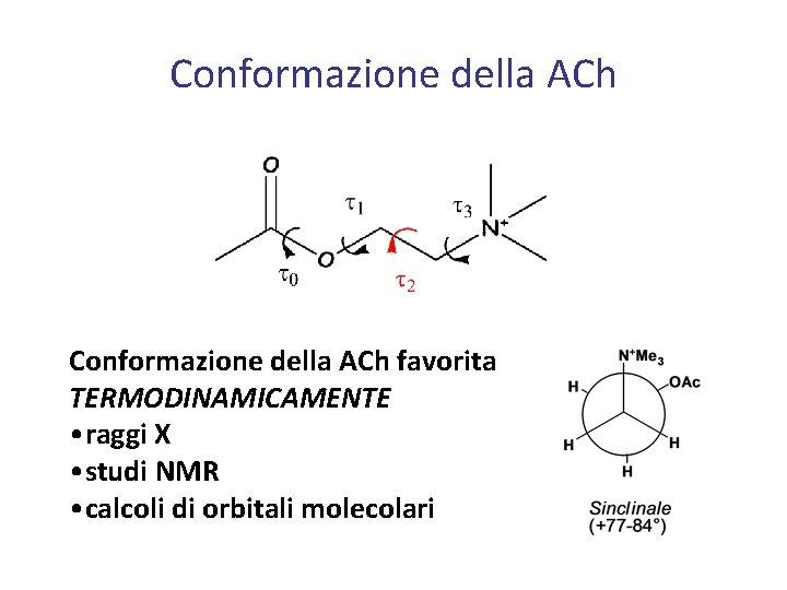 Conformazione della ACh favorita TERMODINAMICAMENTE • raggi X • studi NMR • calcoli di