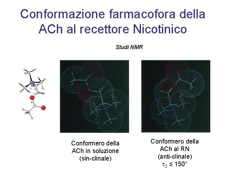 Conformazione farmacofora della ACh al recettore Nicotinico Studi NMR Conformero della ACh in soluzione