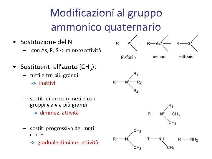 Modificazioni al gruppo ammonico quaternario • Sostituzione del N – con As, P, S