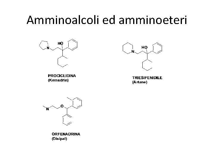 Amminoalcoli ed amminoeteri