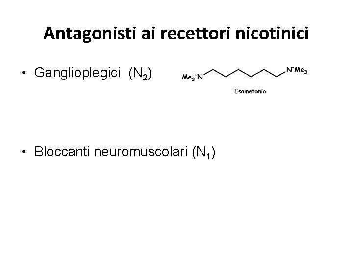 Antagonisti ai recettori nicotinici • Ganglioplegici (N 2) • Bloccanti neuromuscolari (N 1)