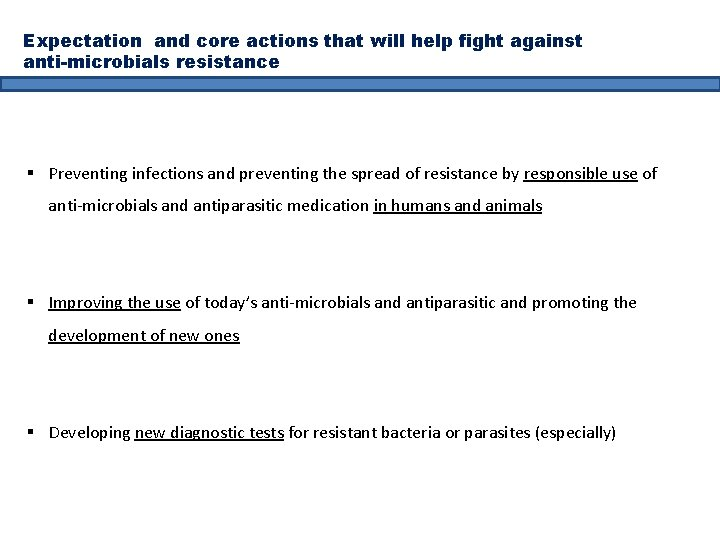 Expectation and core actions that will help fight against anti-microbials resistance § Preventing infections