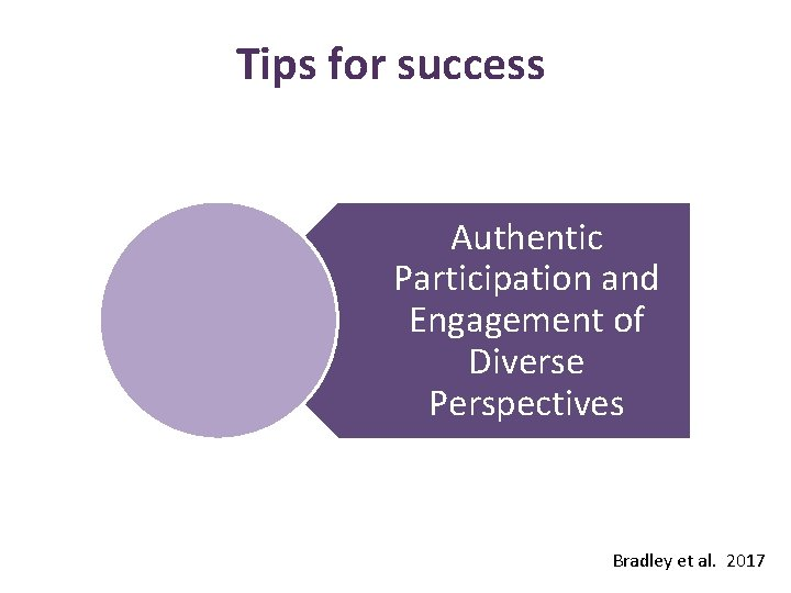 Tips for success Authentic Participation and Engagement of Diverse Perspectives Bradley et al. 2017