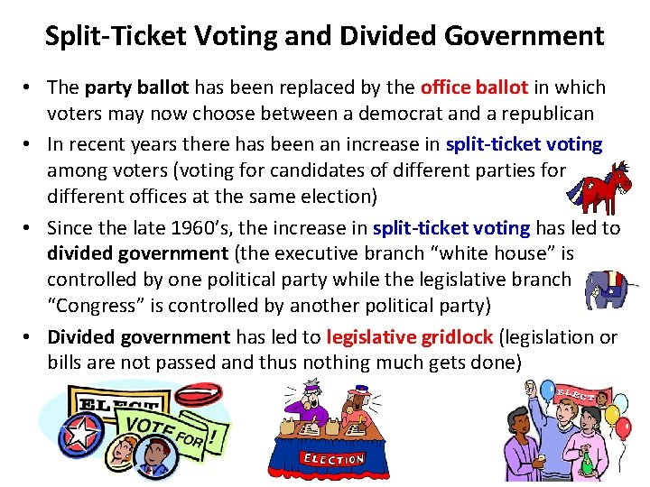 Split-Ticket Voting and Divided Government • The party ballot has been replaced by the