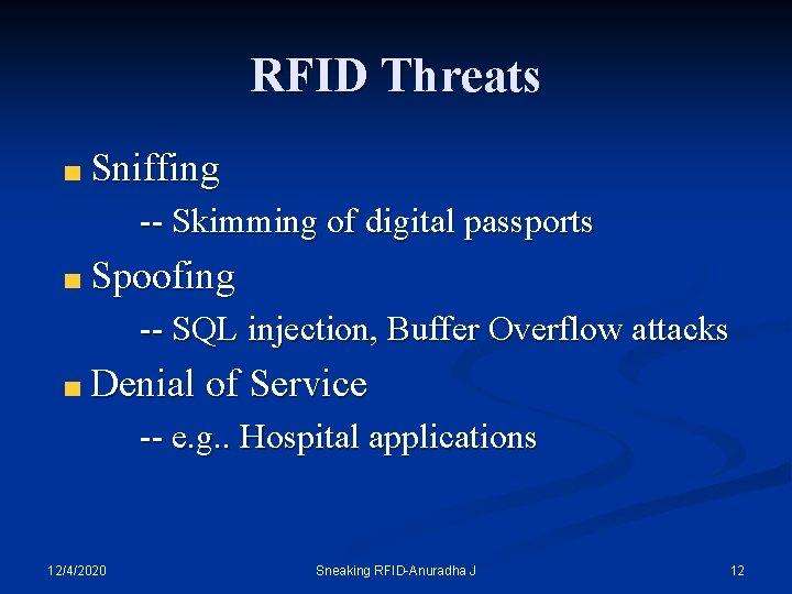 RFID Threats Sniffing -- Skimming of digital passports Spoofing -- SQL injection, Buffer Overflow