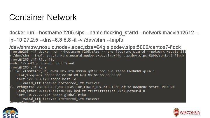 Container Network docker run --hostname f 205. sips --name flocking_startd --network macvlan 2512 -ip=10.