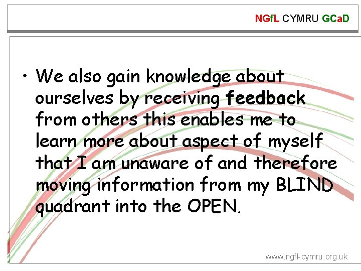 NGf. L CYMRU GCa. D • We also gain knowledge about ourselves by receiving