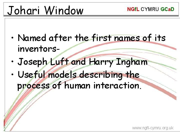 Johari Window NGf. L CYMRU GCa. D • Named after the first names of
