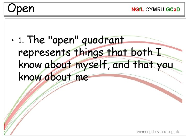 "Open NGf. L CYMRU GCa. D • 1. The ""open"" quadrant represents things that"