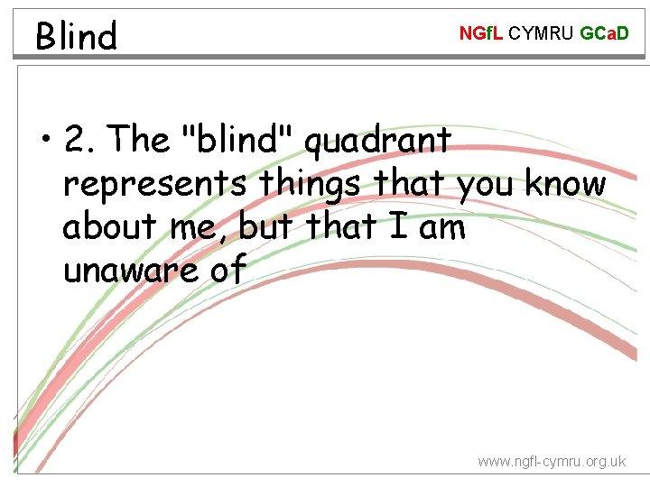 "Blind NGf. L CYMRU GCa. D • 2. The ""blind"" quadrant represents things that"