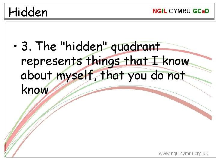 """Hidden NGf. L CYMRU GCa. D • 3. The """"hidden"""" quadrant represents things that"""