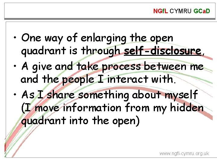 NGf. L CYMRU GCa. D • One way of enlarging the open quadrant is