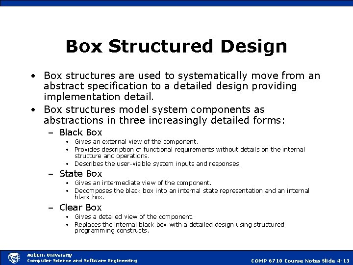 Box Structured Design • Box structures are used to systematically move from an abstract