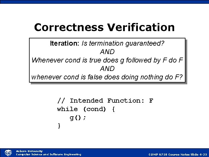 Correctness Verification Iteration: Is termination guaranteed? AND Whenever cond is true does g followed