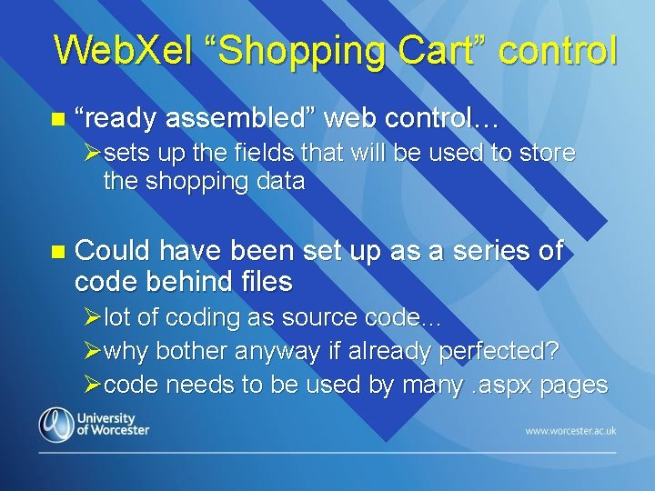 """Web. Xel """"Shopping Cart"""" control n """"ready assembled"""" web control… Øsets up the fields"""