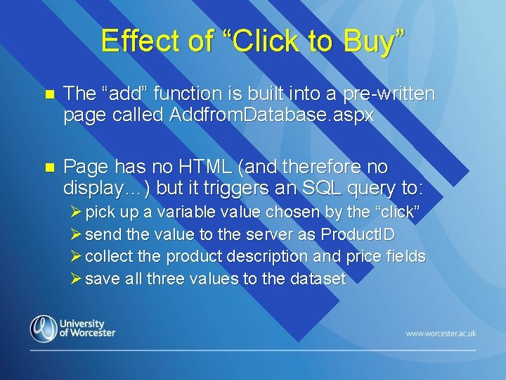 """Effect of """"Click to Buy"""" n The """"add"""" function is built into a pre-written"""