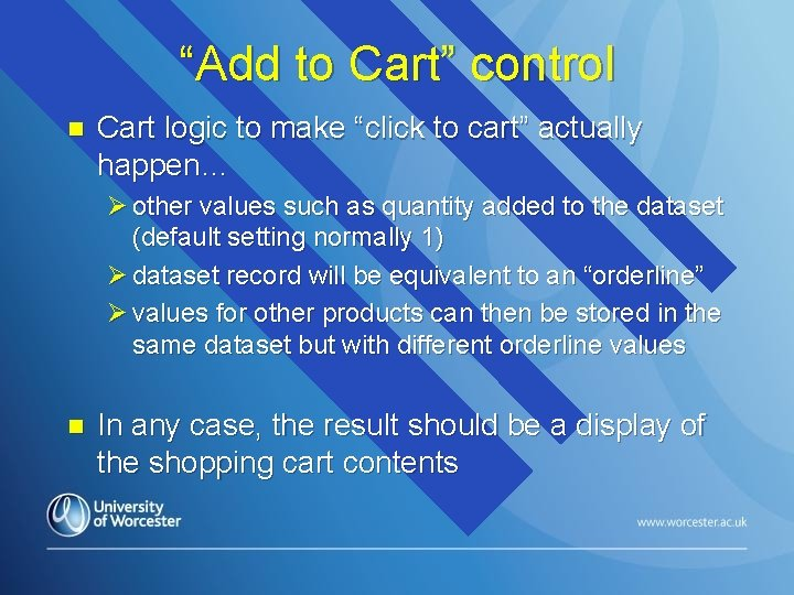 """""""Add to Cart"""" control n Cart logic to make """"click to cart"""" actually happen…"""