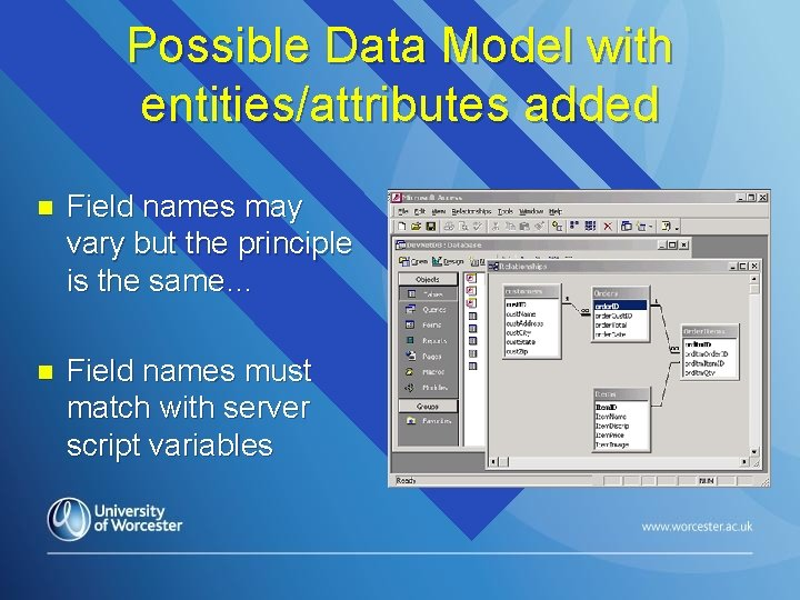 Possible Data Model with entities/attributes added n Field names may vary but the principle