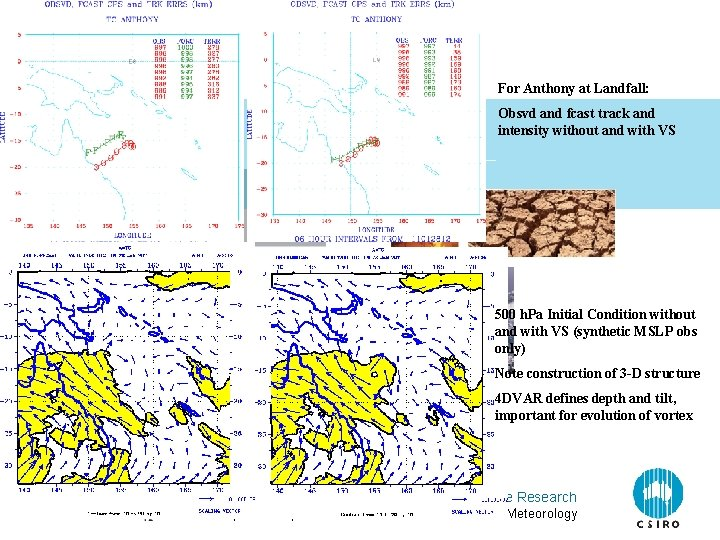 For Anthony at Landfall: Obsvd and fcast track and intensity without and with VS