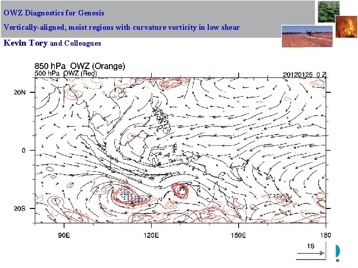 OWZ Diagnostics for Genesis Vertically-aligned, moist regions with curvature vorticity in low shear Kevin