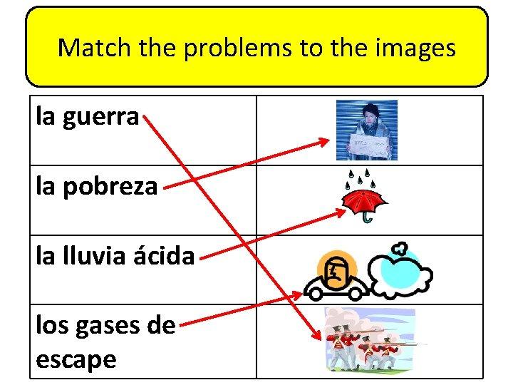 Match the problems to the images la guerra la pobreza la lluvia ácida los