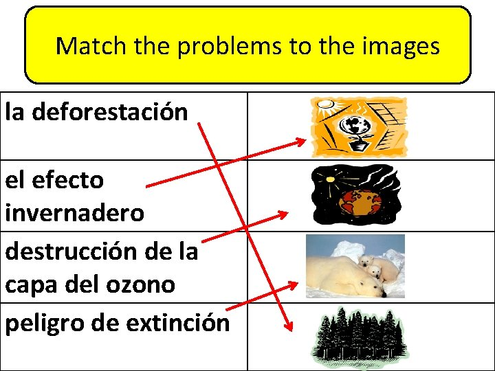 Match the problems to the images la deforestación el efecto invernadero destrucción de la