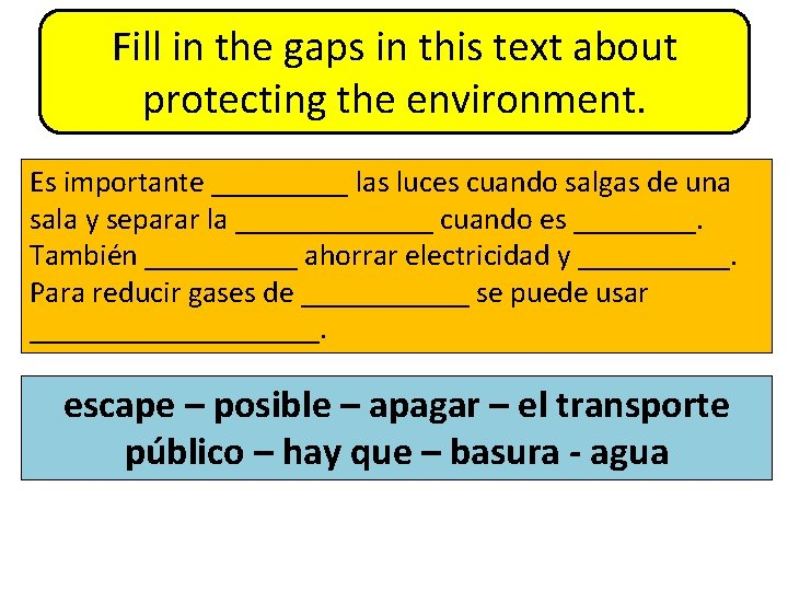 Fill in the gaps in this text about protecting the environment. Es importante _____