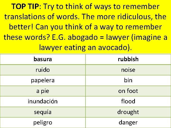 TOP TIP: Try to think of ways to remember translations of words. The more